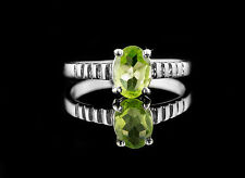 925 Sterling Silver Ring with Natural Oval Cut Peridot Green Gemstone Handmade.