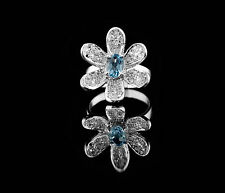 925 Sterling Silver Flower Shape Ring with Blue Topaz Natural Gemstone Handmade.