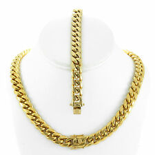 Mens Large Thick 14K Gold Plated Miami Cuban Chain And Bracelet Set Tight Close