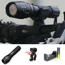 Tactical 9000LM  LED Flashlight Torch CREE XML T6 Zoomable +18650+Charger+ClipM