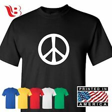 Peace Sign T-Shirt 70's Mens Tee Great Gift Shirt College Make Peace XSm - 3XLg