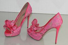 $995 NEW VALENTINO Lace Couture Bow Pumps Hot Pink Heels Platform Shoes 39 RARE!