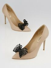 NEW VALENTINO Beige Leather Lace Bow Black Pointed Toe Pumps Heels Shoes 40