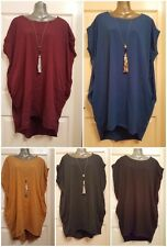 New Italian Jersery plain oversized Floaty top with necklace stretchy material