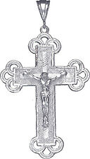 Large Sterling Silver Cross with Jesus Pendant Necklace with Diamond Cut Finish