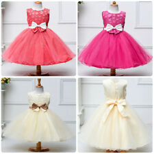 Flower Kid Girls Floral Bow Dress Wedding Holiday Party Formal Pageant Tutu Gown