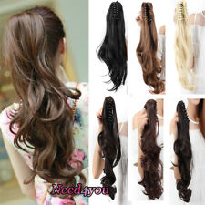 100% Natural Clip in Hair Extensions Real Synthetic on One Piece Jaw Ponytail US