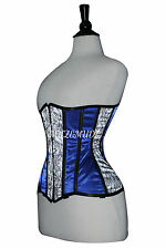 Blue Satin Corset Real Steel Bones Lace up Back Front Busk Under Bust 2XS~7XL