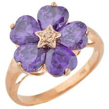 14Kt Rose Gold Plated 5 Hearts Amethyst & Diamond Heart Flower Design Ring