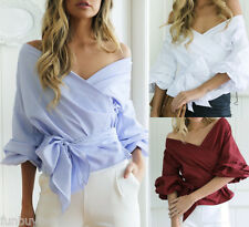 Women Ladies Sexy Casual Shirts Kimono Sleeve Elegant Blouse Shirts Tops S-XL