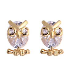 Women Fashion Owl Cubic Zirconia Stud Earrings Party Jewelry Charm Gift Happy