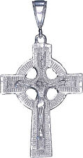 Sterling Silver Celtic Cross with Jesus Pendant Necklace with Diamond Cut Finish