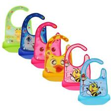 Washable Silicone Infant Feeding Baby Kid Children Bib Cartoon Waterproof Bibs