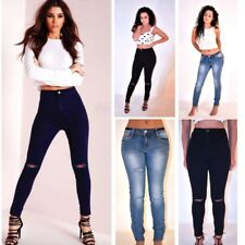 Womens Ladies High Waisted Skinny Fit Jeans Stretch Denim Jegging Size 6-14