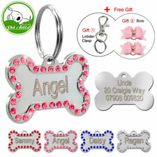 Dog Tag Bone Shape Engraved Custom Name Tags Cat Collar Plate Pet Id Personalize