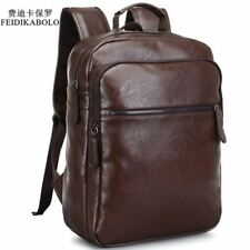 Men Leather Backpack High Quality School Book Bag Laptop