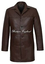 New 3476 Men 4 Buttons CLASSIC BLAZER BROWN Knee Length Lambskin Leather Jacket