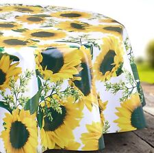 Yellow Sunflower Wipe Clean Tablecloth Oilcloth Vinyl PVC - 140cm Wide