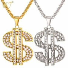 US Dollar Money Necklace & Pendant 316L Stainless Steel/Gold Color Chain