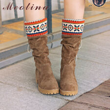 Women Mid-Calf Boots Mid High Heels Lace Up Velvet Casual Ladies Shoes Winter