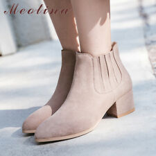 Genuine Leather Women Ankle Boots Block Heel Cow Suede Pointed Toe Slip On Shoes