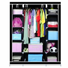 1-5Pc Triple Canvas Clothes Storage Organiser Wardrobe Cupboard Shelving Shelves