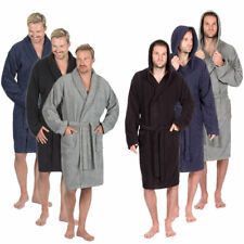 Mens Premium Hooded 100% Cotton Towelling Bathrobe Dressing Gown Luxury Robe