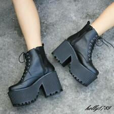 Womens Punk Gothic platform chunky Block heels Lolita shoes cosplay ankle boots