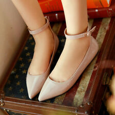 Women Pointed Toe Shoes Ankle Strap Buckle Ballet Shoes Ladies Patent Leather