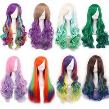 Rainbow Long Natural Straight Curly Wavy Hair Wig Cosplay Wigs Fancy Party Dress