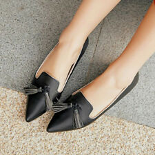 Women Genuine Leather Shoes Fringe Pointed Toe Flats Ladies Causal Boat Flat