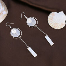 Charming Rectangle Shell Pendant Hollow Hoop Dangle Long Earrings Jewelry Happy