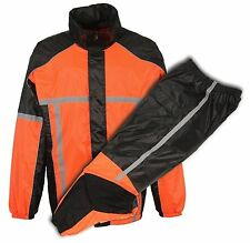 MOTORCYCLE WATER RESISTANT BLK &ORANGE WATERPROOF NEW RAIN GEAR MEN'S RAIN SUIT