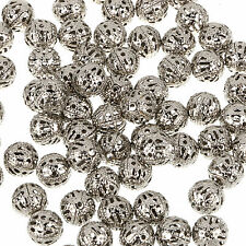 DIY Jewelry! 4/ 6/8/10mm Gray PLATED FILIGREE Spacer Metal Beads Jewelry Making