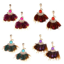 Exquisite Ladies Tassel Exaggeration Bohemia Jewelry 1Pair Earrings Feather