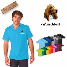 Polo Shirt Cotton Embroidered Embroidery Dog Basset + Desired text