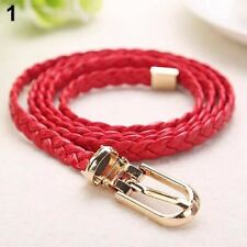 2016 Women Braided PU Leather Narrow Thin Buckle Strap Waist Belt All-Match Wais