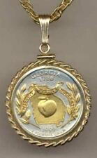 Handcrafted in USA Gold on Silver Statehood Quarter Necklaces in Rope Bezel