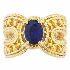 14Kt Yellow Gold Plated Blue Sapphire Oval Cocktail Design Ring