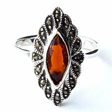 (SIZE 6,7,8) Marquise-Cut GARNET STONE RING Marcasite .925 STERLING SILVER