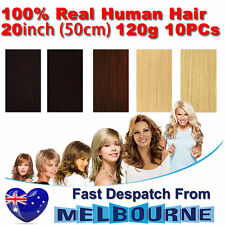 Clip In Remy Real Human Hair Extensions 20inch 120g Full Head on Black Blonde Br