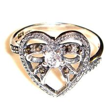 HEART & BOW RIBBON RING w/ CZ Stone Marcasite .925 STERLING SILVER (SIZE 6,7,8)