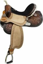 "14"" 15"" 16"" Barrel Style Saddle with Barrel Racer Conchos Full QH NEW"