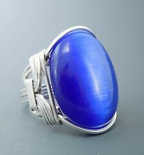 Large Sterling Silver Blue Cats Eye Glass Cabochon Wire Wrapped Ring