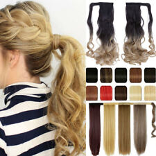 Long Wavy Straight Clip in Ponytail Pony tail Hair Extensions Natural hair piece