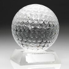 Clear Glass Golf Ball Trophy in 2 Sizes with FREE Engraving up to 30 Letters