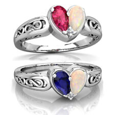 925 Silver 1.9CT Blue&Red Sapphire Opal Woman Man Jewelry Wedding Ring Size 6-10