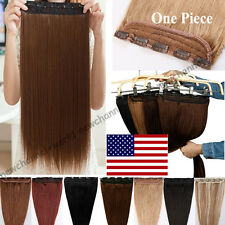 One Piece 100% Real Clip in Remy Human Hair Extensions Full Head Highlight B609