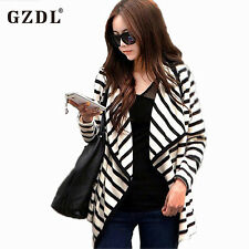 Cardigan Casual Striped Sweater Long Sleeve Women Womens Front Open Stitch Tops