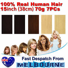 "Clip In Remy Real Human Hair Extensions 15"" inch 70g Full Head on Black Blonde"